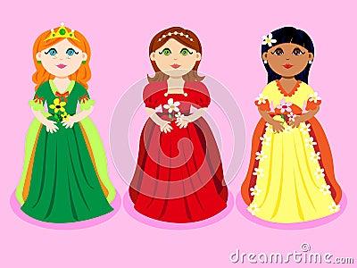 Trio de princesas dos desenhos animados