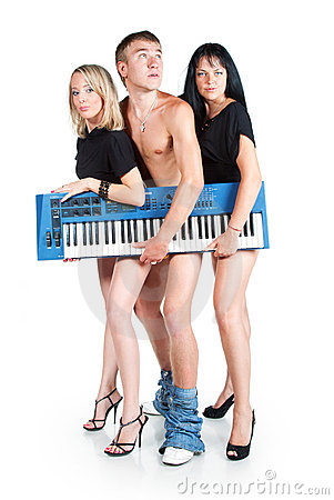 A trio of musicians with no pants