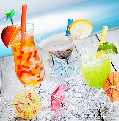 Free Trio Of Different Tropical Bubble Teas Royalty Free Stock Photo - 24623955