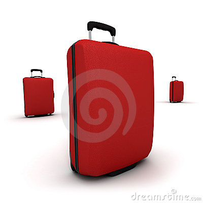Trio of Red Trolley suitcases