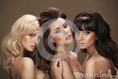 Trio of sensual young women