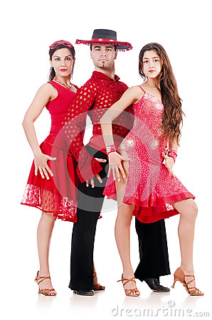 Trio van geïsoleerde dansers