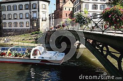 Trip by boat, Strasbourg, Alsace, France