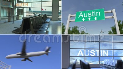 Trip to Austin. Airplane arrives to the United States conceptual montage animation. Trip to Austin. Traveling to the United States conceptual animation stock video