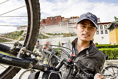 Trip to Tibet by bike Editorial Photography