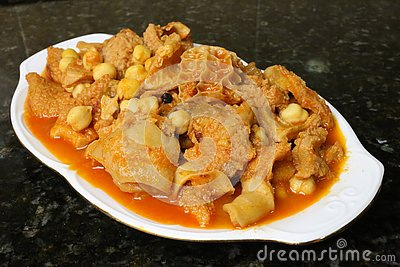 Tripe with chickpeas Andalusian and Spanish cuisine
