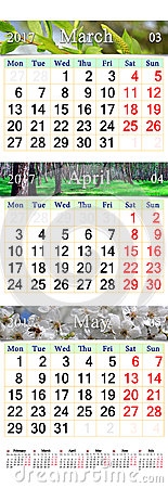 Triple calendar for March April and May 2017 with pictures Stock Photo