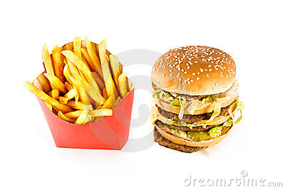 Triple cheeseburger and french fries