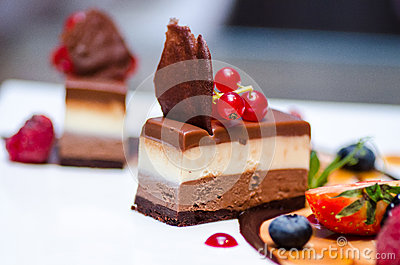 Triple chocolate dessert