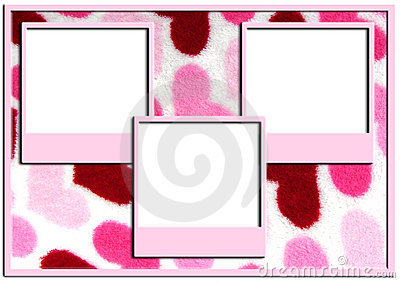 Triple picture frames on heart background