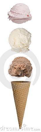 Free Triple Scoop Ice Cream Cone Stock Photos - 9751573