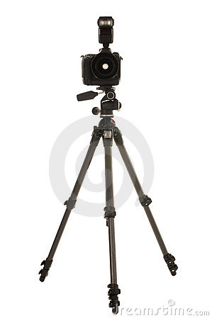 Free Tripod And Camera With Flash Royalty Free Stock Photography - 15668747