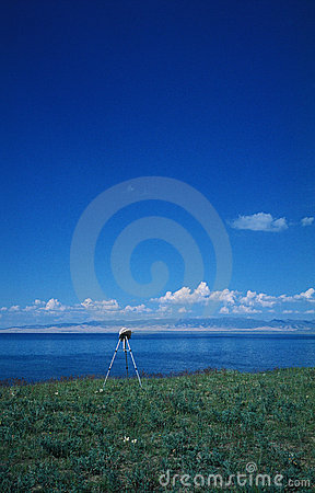 A tripod  under the blue sky