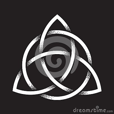 Free Triquetra Or Trinity Knot. Hand Drawn Dot Work Ancient Pagan Symbol Of Eternity And Trinity Isolated Vector Illustration Stock Photos - 109612123