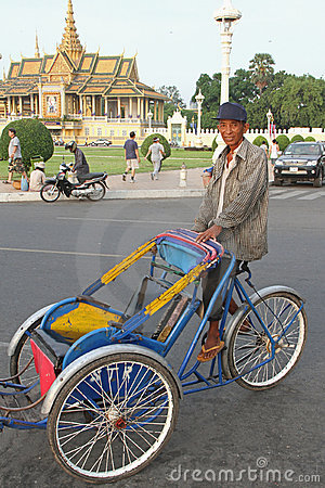 Trishaw in Phnom Penh Editorial Photography