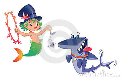 Triton with shark.