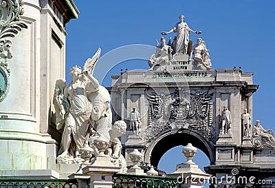 Triumph arc in Comercio Square, Lisbon, Portugal