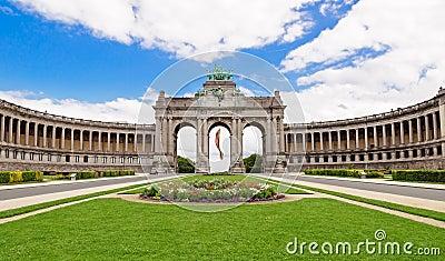 The Triumphal Arch in Cinquantenaire Parc in Brussels, Belgium w