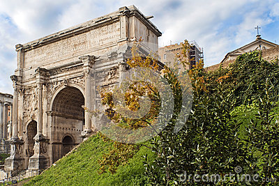 Triumphal Arch of Emperor Septimius Severus in the Roman Forum in Rome