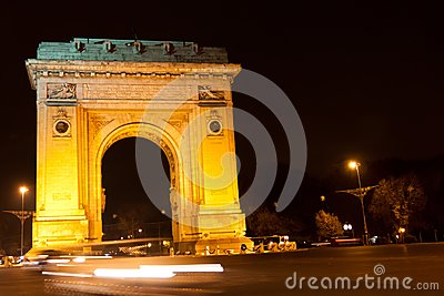 Triumphal arch by night, Bucharest