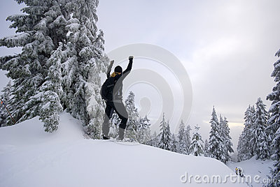 Triumphant person on top in winter