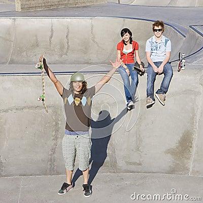 Triumphant skateboarder