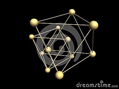 Trójgraniaste cząsteczkowe struktury.