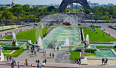 Trocadero Fountain, near the Eiffel Tower Editorial Stock Photo