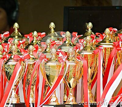 Trofeeën bij een sportengebeurtenis
