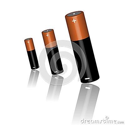 Trois batteries sur un fond blanc
