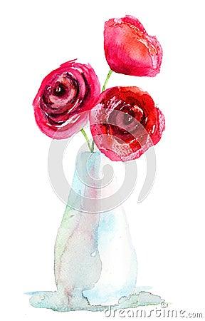 Trois fleurs de roses rouges