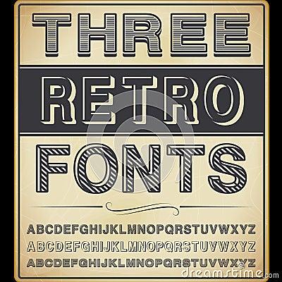 Trois polices de vintage