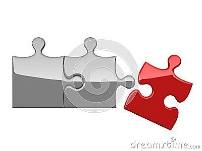 Trois puzzles sur le fond blanc
