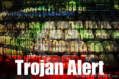 Trojan Alert on a  Technology Background