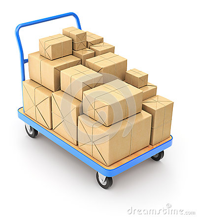 Trole com pacotes do cargo