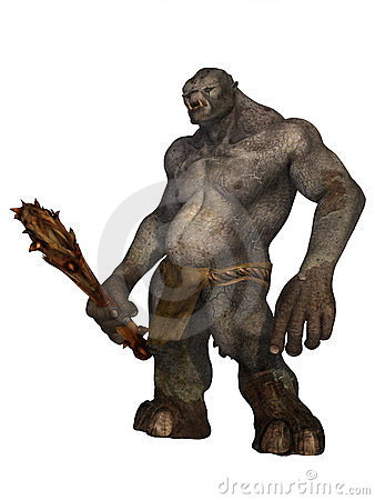 Troll in loincloth holding wooden club