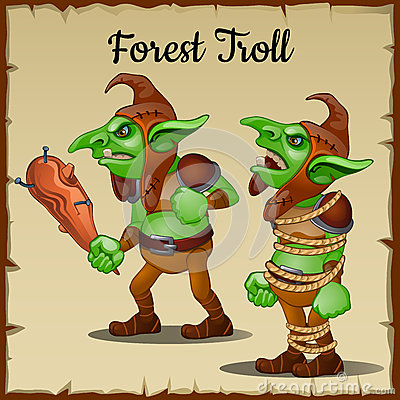 Free Troll With A Wooden Club Bound By Rope Stock Images - 61670544