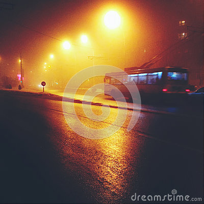 Trolley bus at night