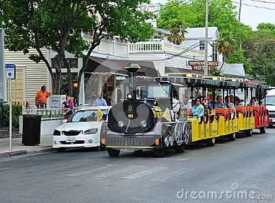 Trolley car tour in Key West Editorial Image
