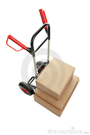Trolley with cardboard boxes on white background