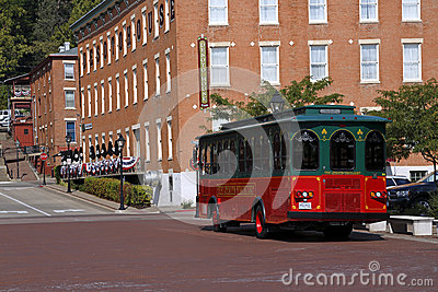 Trolley and DeSoto House Hotel in Galena, Illinois Editorial Image