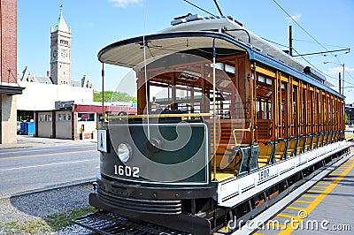 Trolley in downtown Lowell, Massachusetts