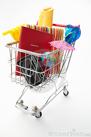Trolley full of holiday items