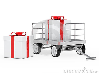 Trolley with gift box
