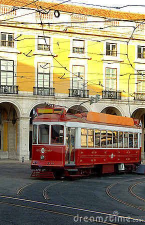 Trolley on lisbon portugal street