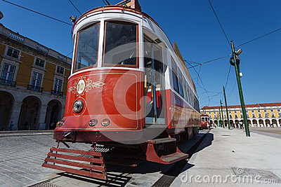 Trolley stopped in historic Praca Do Comercio in Lisbon Portugal Editorial Stock Image