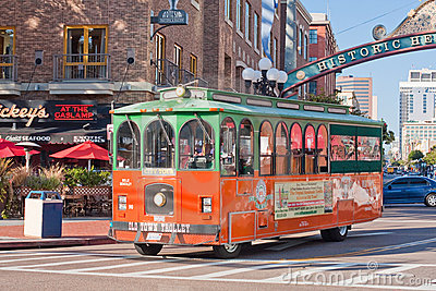 Trolley Tour in Gaslamp District in San Diego Editorial Image