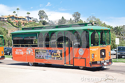 Trolley tours in old town San Diego, California Editorial Stock Photo