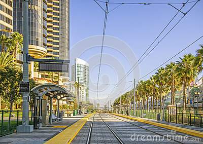 Trolley Tracks, Downtown San Diego, California Editorial Image