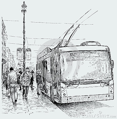 https://thumbs.dreamstime.com/x/trolleybus-stop-vector-drawing-bus-city-street-50251776.jpg